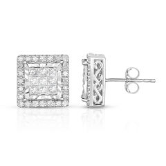 True Miracle 1 CT. T.W. Princess White Diamond 10K Gold Stud Earrings