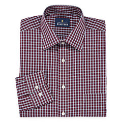 Stafford Travel Easy-Care Long Sleeve Broadcloth Plaid Dress Shirt