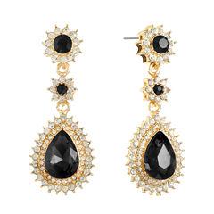 Monet Jewelry Black Drop Earrings