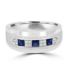 Mens Diamond Accent Lab Created Blue Sapphire 10K Gold Band