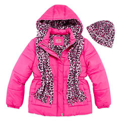 Pink Platinum Heavyweight Puffer Jacket - Girls-Big Kid