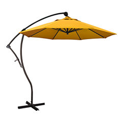 California Umbrella 9' Bayside Series Pacifica Cantilever Patio Umbrella With Bronze Aluminum Pole Aluminum Ribs 360 Rotation Tilt Crank Lift