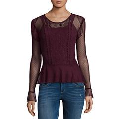 Self Esteem Long Sleeve Round Neck Lace Blouse-Juniors