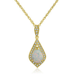 Lab-Created Opal & Lab-Created White Sapphire 14K Gold Over Silver Pendant Necklace