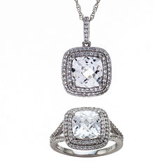 Lab-Created White Sapphire Sterling Silver Frame Pendant Necklace and Ring Set
