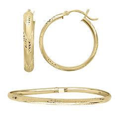 10K Yellow Gold Flex Bangle and 25mm Hoop Earrings Set