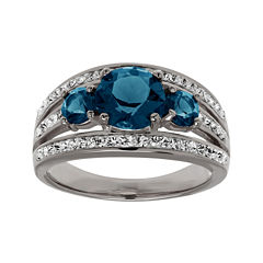Blue and White Crystal Sterling Silver 3-Stone Ring