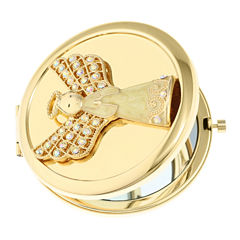 Monet Jewelry White Gold Angel Compact Mirror