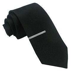 JF J. Ferrar® Black Satin Tie and Tie Bar Set - Slim