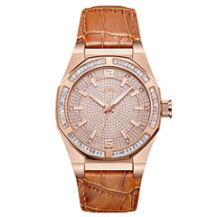 JBW 18k Rose Gold-Plated Stainless Steel Apollo Mens Brown Strap Watch-J6350d