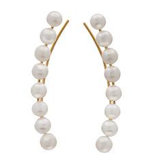 White Pearl 10K Gold Ear Climbers