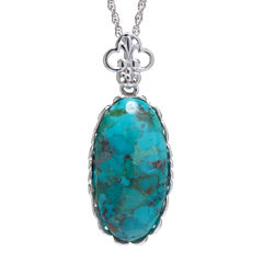 Enhanced Turquoise Sterling Silver Scalloped Pendant Necklace