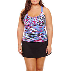 Zero Xposure Geo Linear Tankini Swimsuit Top-Plus
