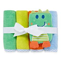 Okie Dokie Boy 4Pk  Wash Cloth Set Green Dino