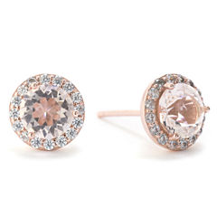 Silver Treasures Round Champagne 14K Stud Earrings