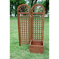 Northbeam Wood Trellis Screen and Outdoor Planter