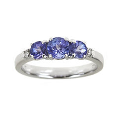 LIMITED QUANTITIES Genuine Tanzanite and Diamond-Accent 3-Stone Ring