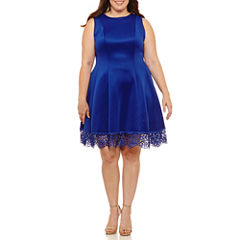 Dr Collection Sleeveless Fit & Flare Dress-Plus