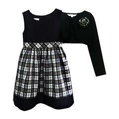 Marmellata Plaid Dress and Cardigan - Girls 7-12