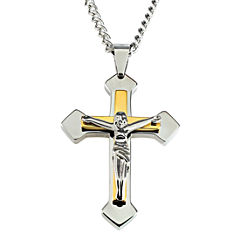 Mens Two-Tone Stainless Steel Crucifix Pendant Necklace