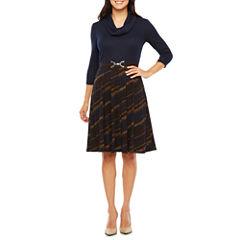 Robbie Bee 3/4 Sleeve Stripe Fit & Flare Dress
