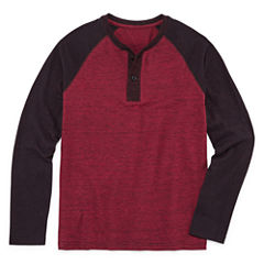 Arizona Long Sleeve Textured Henley Boys 8-20 & Husky