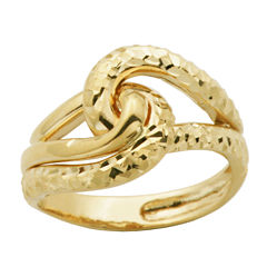 Womens 14K Gold Crossover Ring