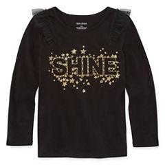 Okie Dokie Long Sleeve Crew Neck T-Shirt-Toddler Girls