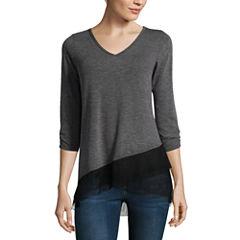 Alyx 3/4 Sleeve V Neck T-Shirt-Womens