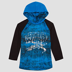 Long Sleeve Hooded Neck Star Wars T-Shirt-Preschool Boys