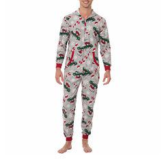 Onesie Fleece One Piece Pajama More Naughty Than Nice Print- Men's