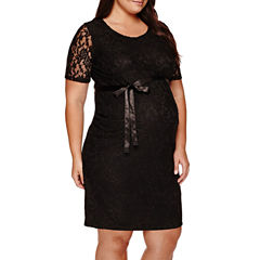 Planet Motherhood Elbow Sleeve Lace Dress with Bow Belt - Plus Maternity
