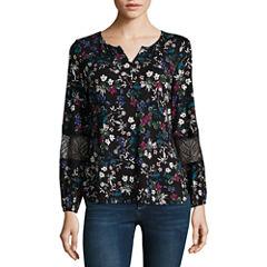 Liz Claiborne Long Sleeve Split Neck Floral T-Shirt-Womens