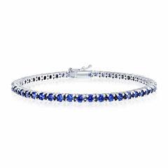 Womens 7.25 Inch Blue Tanzanite Sterling Silver Link Bracelet