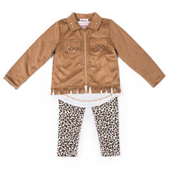 Little Lass Suede Fringe Jacket with Leopard Print Legging Set- Preschool Girls
