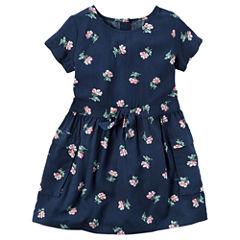 Carter's Short Sleeve Floral A-Line Dress - Toddler Girls
