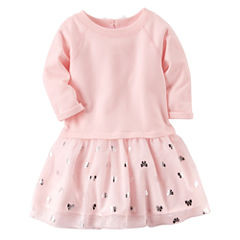 Carter's Long Sleeve Bows A-Line Dress - Preschool Girls