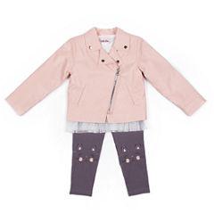 Little Lass Pink Moto Jacket w Cat Graphic Legging Set- Preschool Girls