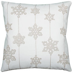 Rizzy Home Snowflakes Holiday Square Throw Pillow