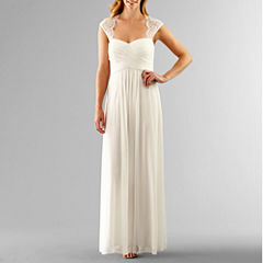 Scarlett Sleeveless Lace-Shoulder Wedding Gown