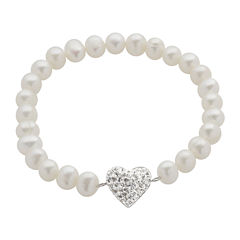 Cultured Freshwater Pearl & Crystal Heart Stretch Bracelet