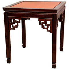 Oriental Furniture Rosewood Square Ming ChairsideTable