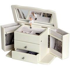 White Musical Ballerina Jewelry Box