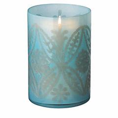 Blue Etched Floral Pillar Holder