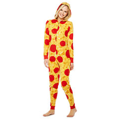 Pepperoni Pizza Print Long Sleeve One Piece Pajama