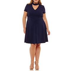 Bisou Bisou Short Sleeve Fit & Flare Dress-Plus