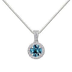 Womens Blue Blue Topaz Sterling Silver Pendant Necklace