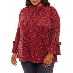 Boutique + Long Sleeve Mock Neck Blouse-Plus