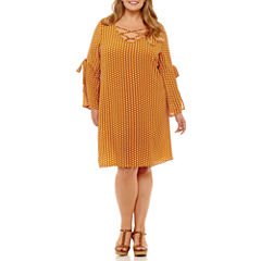 Como Black Long Sleeve Dots Shift Dress-Plus