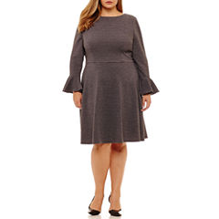 London Times Long Sleeve Sheath Dress-Plus